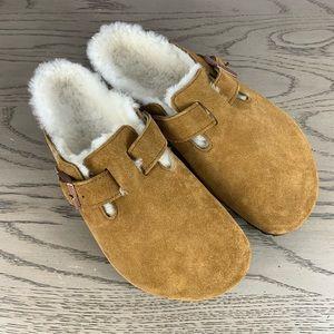 Birkenstock Boston Fur clogs Natural Suede